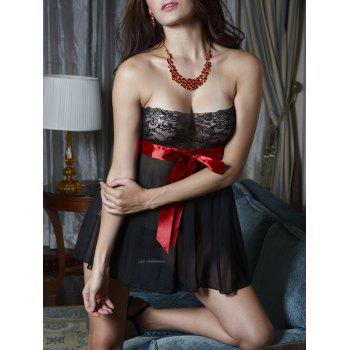 Mesh Sheer Strapless Lingerie Dress - BLACK ONE SIZE