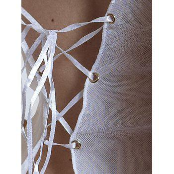 Chains Detail Lace Up Split Lingerie Dress - ONE SIZE ONE SIZE