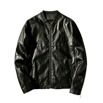 Triangle Emboss Zip Up Faux Leather Jacket