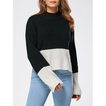 Two Tone Drop Shoulder High Low Sweater - BLACK ONE SIZE