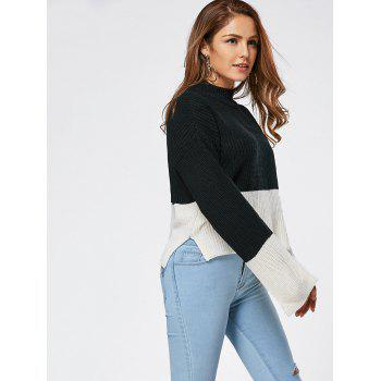 Two Tone Drop Shoulder High Low Sweater - ONE SIZE ONE SIZE