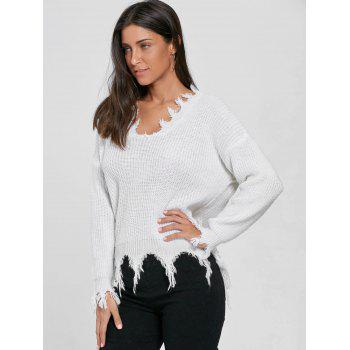 V Neck Knit Distressed Sweater - WHITE WHITE