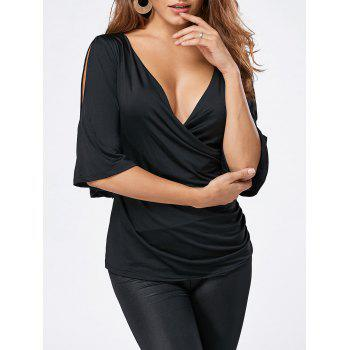 Split Sleeve Plunging Neck Wrap T-shirt