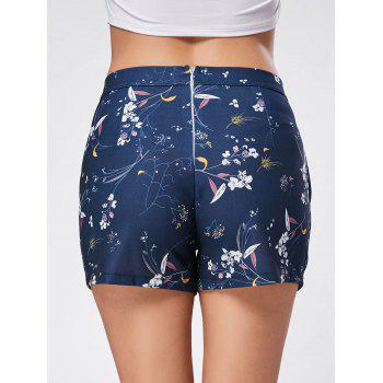 Casual Floral Print Mini Shorts - BLUE BLUE