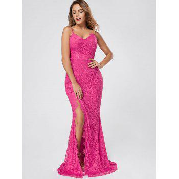 Slit Lace Maxi Slip Dress - M M