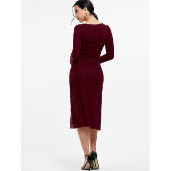 Plunge Long Sleeve Slit Knit Dress - WINE RED M