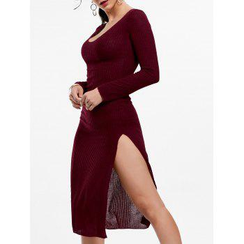 Plunge Long Sleeve Slit Knit Dress - WINE RED L