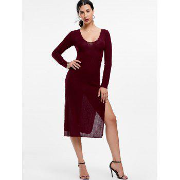 Plunge Long Sleeve Slit Knit Dress - L L