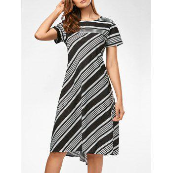 Midi A Line Striped Casual Dress - STRIPE S