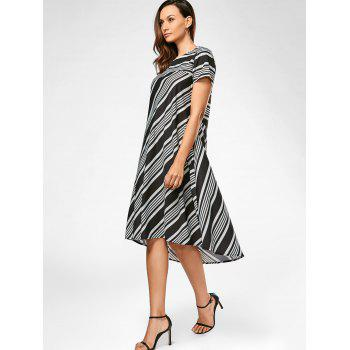 Midi A Line Striped Casual Dress - S S