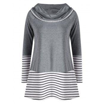Plus Size Striped Cowl Neck Tunic Top