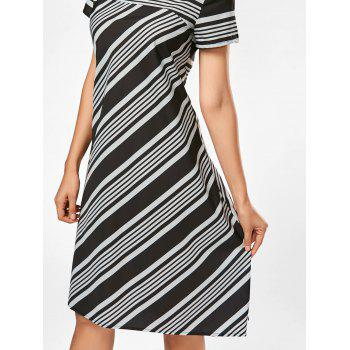 Midi A Line Striped Casual Dress - STRIPE STRIPE