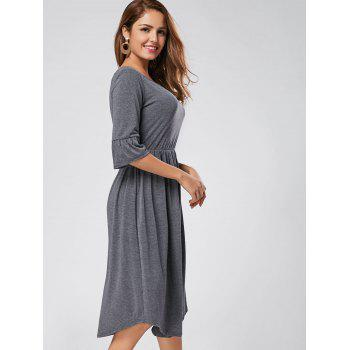 Ruffle Sleeve Midi Jersey Dress - S S