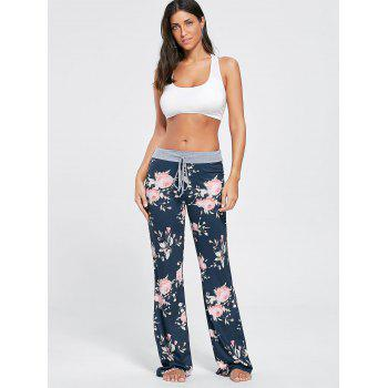 Floral Long Drawstring Waist Night Pants - COLORMIX S