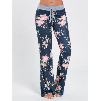 Floral Long Drawstring Waist Night Pants
