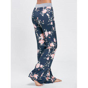 Floral Long Drawstring Waist Night Pants - COLORMIX M