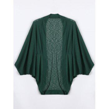 Plus Size Semi Sheer Batwing Sleeve Collarless Top
