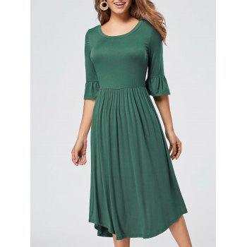 Ruffle Sleeve Midi Jersey Dress - GREEN S