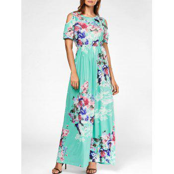 Cold Shoulder Floral Long Dress