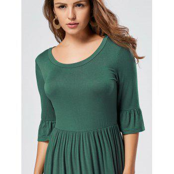 Ruffle Sleeve Midi Jersey Dress - GREEN GREEN