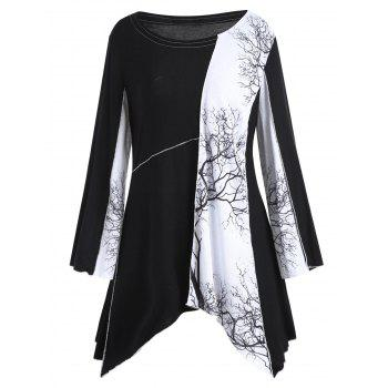 Plus Size Long Sleeve Tree Graphic Asymmetric Top