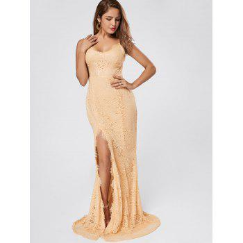 Slit Lace Maxi Slip Dress - Abricot M