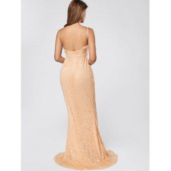 Slit Lace Maxi Slip Dress - APRICOT XL