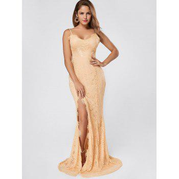 Slit Lace Maxi Slip Dress - APRICOT APRICOT