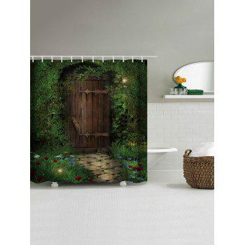 Fairy Forest Wood Door Fabric Shower Curtain - DEEP GREEN W71 INCH * L79 INCH