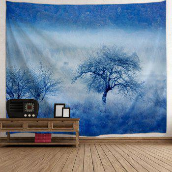 Fog Forest Trees Print Tapestry Wall Hanging Art - ICE BLUE W59 INCH * L79 INCH