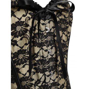 Steel Boned Lace Bowknot Plus Size Corset - 4XL 4XL
