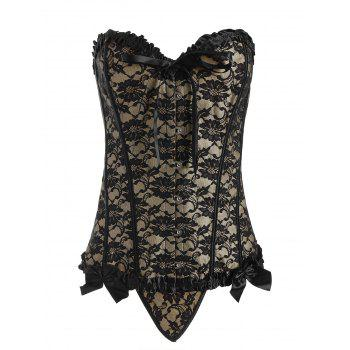 Steel Boned Lace Bowknot Plus Size Corset - CAMEL 3XL
