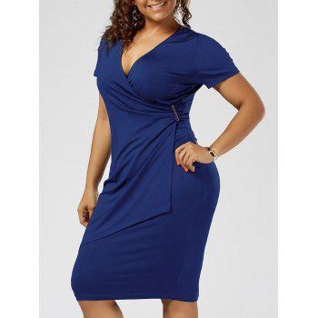Plus Size Overlap Sheath Surplice Dress