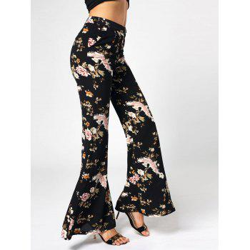 High Waist Floral Print Flared Pants