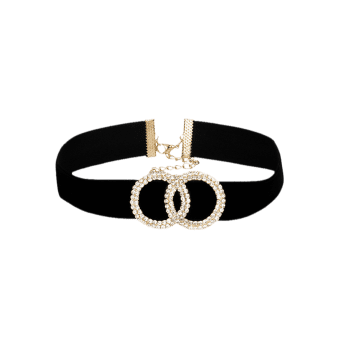 Double Rhinestone Circles Wide Velvet Choker -  BLACK