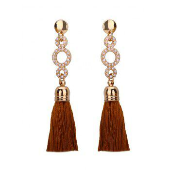 Small Faux Pearl Circle Tassel Long Earrings