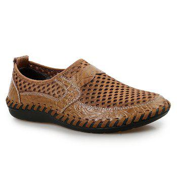 Hollow Out Faux Leather Panels Slip On Sneakers - BROWN 41