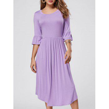 Ruffle Sleeve Midi Jersey Dress - PURPLE S