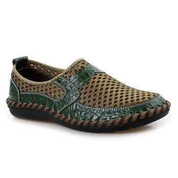 Hollow Out Faux Leather Panels Slip On Sneakers - GREEN 44