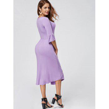 Ruffle Sleeve Midi Jersey Dress - PURPLE PURPLE
