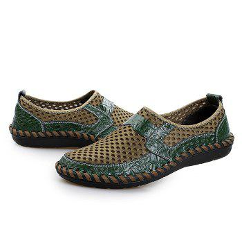 Hollow Out Faux Leather Panels Slip On Sneakers - GREEN GREEN