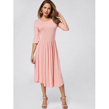 Ruffle Sleeve Midi Jersey Dress - PINK PINK