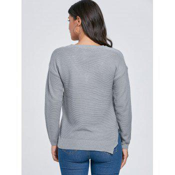 Side Slit V Neck Knit Sweater - GRAY GRAY