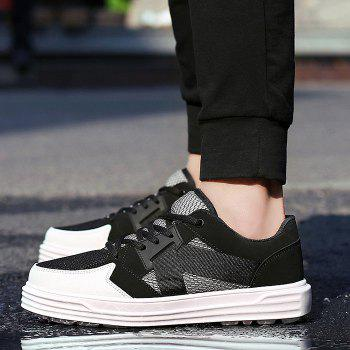 Mesh Color Block Sneakers - BLACK 44