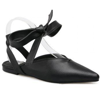 Slingback Point Toe Lace Up Flats - BLACK 37