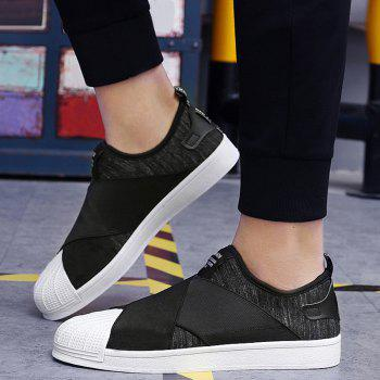 Stretch Fabric Elastic Band Casual Shoes - BLACK 40
