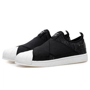 Stretch Fabric Elastic Band Casual Shoes - BLACK 43