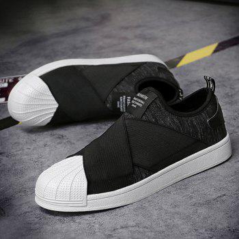 Stretch Fabric Elastic Band Casual Shoes - BLACK 44