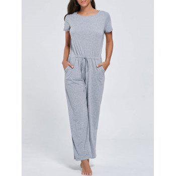 Short Sleeve Pocket Drawstring Jumpsuit - GRAY GRAY