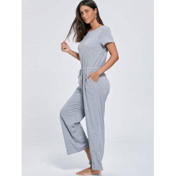 Short Sleeve Pocket Drawstring Jumpsuit - GRAY L